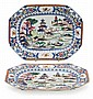 A pair of porcelain Chinese platters, from the late 19th century, , 32,5x24,5 cm