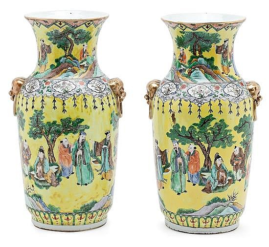 A pair of porcelain Chinese vases, from the mid 20th century, , 34 cm high