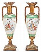 Pair of gilt-bronze mounted Vienna porcelain vases, early 20th century, Signed , 56 cm high