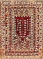 Persian wool prayer rug, 19th century, Damaged, 143x95 cm