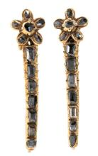Long gold and diamond earrings, from the end of the 18th Century - early 19th Century