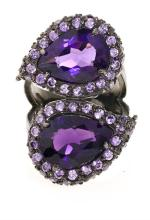 Toi et moi amethyst and quartz ring