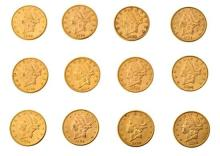Twelve $ 20 American coins in gold