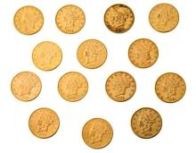 Fourteen US $ 20 coins in gold