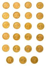 Forty-seven $ 20 American coins in gold