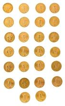 Fifty-two $ 20 American coins in gold