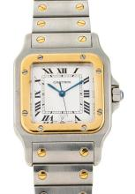 Cartier, Santos, a gentleman's steel and gold wristwatch