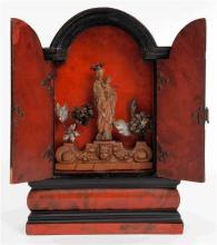 Oratory-portable shrine probably Flemish, in ebonized wood, tortoiseshell and silver, 17th Century