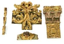 Spanish school of the 17th and 18th Centuries  Four fragments of an altarpiece