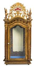 Charles IV vitrine-display cabinet in carved and polychrome wood, late 18th Century