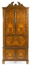Dutch corner cupboard in walnut with fine wood floral inlay, late 18th-first third of the 19th Century