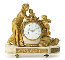 Louis XVI white marble and gilt bronze table clock, last quarter of the 18th Century