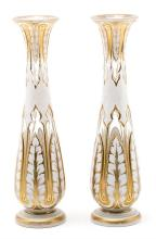 Pair of vases in Bohemian crystal, folded in opaline, carved and gilded, 19th Century