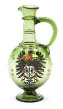 Renaissance-style jug in green enamelled Bohemian glass, 19th Century