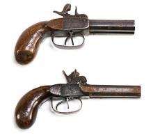 Two Spanish muzzle-loading percussion pocket pistols, circa 1840