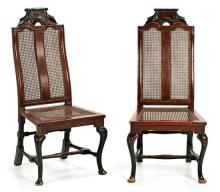 Pair of Spanish 18th century-style chairs in carved and polychrome wood, 19th Century