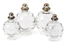 Two pairs of French Art Déco bottles in Baccarat cut crystal and silver, circa 1930