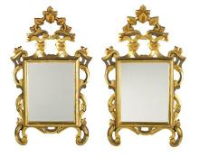 Charles IV-style gilded wooden mirror and pair of small decorative mirrors, first half of the 20th Century