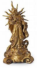 Second third of the 18th Century German school The Blessed Virgin. Gold-plated terracota sculpture. 31 cm ht.