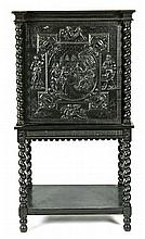 Napoleon III Louis XIII-style cabinet in carved and ebonized wood, second half of the 19th Century 146.5x75.5x47 cm