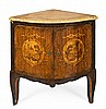 French Louis XV-style corner cabinet in rosewood with fine wood inlay, mid 19th Century  Marble top   86.5x76x53.5 cm
