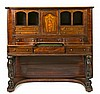 English Victorian-style escritoire in rosewood, carved mahogany and fine wood inlay, early 20th Century 138x149x66 cm