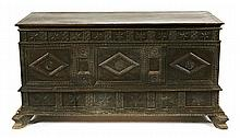Spanish Renaissance-style chest in carved and tinged wood, second half of the 19th Century  70x133x49 cm