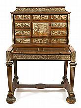 Louis XIV-style cabinet/writing desk in walnut with zinc inlay, last quarter of the 19th Century  154x102x72 cm