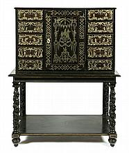 Louis XIV-style cabinet in ebonized and carved wood with zinc inlay, second half of the 19th Century  153x112x56.5 cm