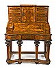 German Baroque-style bureau in walnut with satinwood filleting, early 20th Century 126x103x62 cm
