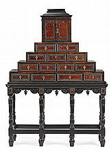 An ebonized wood Flemish writing desk. Bone, carey and bronze decorations. Mid 19th Century. Trapezoid structure with upper body imitat