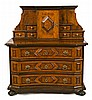 German chest of drawers/sideboard in walnut and burr elm, 19th Century 139x125x60 cm
