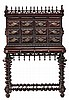 An Indian Portuguese writing desk in carved rosewood, from the 19th Century  Matching support of turning legs. 74x102x42 cm