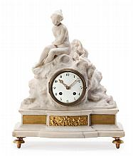 A white marble and bronze table clock in Louis XVI style, from the 19th Century. Finished by a girl in Falconet's style. Paris machiner