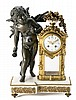 French Napoleon III-style table clock in gilt and blued bronze and white marble, late 19th Century Clock maker Bach of Madrid. Paris mo