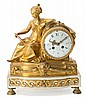 French Louis XVI-style gilt-bronze and white marble table clock, mid 19th Century  Paris movement. In working order  35x30x10 cm