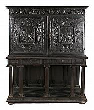 Louis XIII cabinet in ebony and carved and ebonized wood, mid 17th Century with 19th-Century transformations  190x147x47 cm