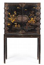 English William and Mary-style lacquered cabinet with bronze applications, late 19th Century. . Matching table stand. Small flaws. . 84