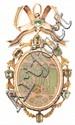 Colgante Carlos IV en oro y pedrería, hacia 1800
