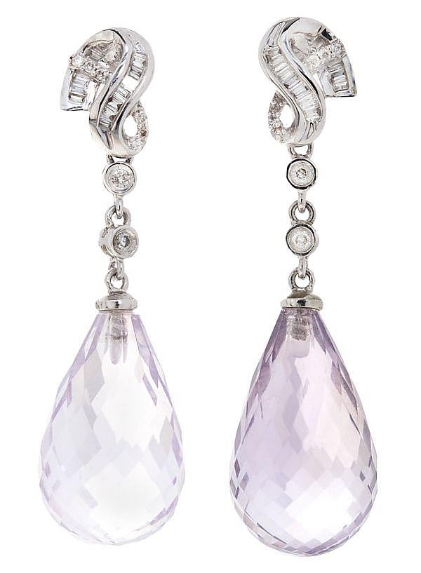 Pendientes largos de amatistas y diamantes