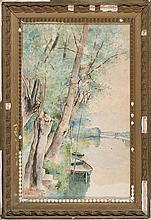 Luis Jiménez Aranda Seville 1845 - Pontoise 1928 Views of Auvers-sur-Oise and Pontoise Two watercolour on paper Signed, located and dat