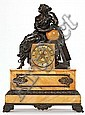 An Empire style French clock. Blued and gold-plated bronze and marble. Late 19th century, rounded off by a classical young lady with an