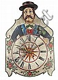 """A """"Lackschilduhr"""" from the Black Forest wall clock. 19th century. Two bells, eight-day duration alarmclock and spring. 61X41x20 cm"""