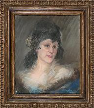 Delphin Enjolras Courcouron 1857 - Ardèche 1945 Retrato femenino Pastel sobre papel marouflé sobre lienzo