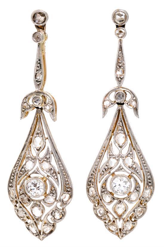 Belle Epoque Diamond Earrings Circa 1910
