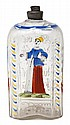 Enamelled Bohemian glass bottle, 18th Century Depiction of a lady and text in German