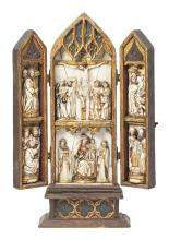 Spanish School circa 1940  Triptych of the Crucifixion with scenes of Calvary and the childhood of Christ