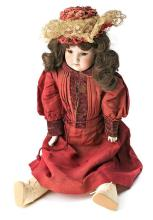 Floreden German doll with head, bust and porcelain hands and body in goatskin, late 19th century