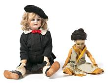 Two dolls, German and French Dep head in porcelain and body composition, circa 1920