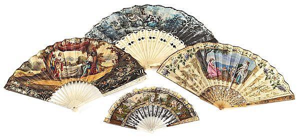 Cuatro abanicos con varillajes de marfil, hueso y nácar, de finales del siglo XVIII y de la primera mitad del siglo XIX